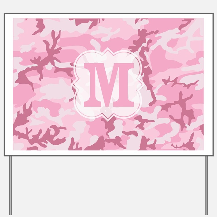 Monogram Pink Camouflage Yard Sign