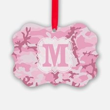 Monogram Pink Camouflage Ornament