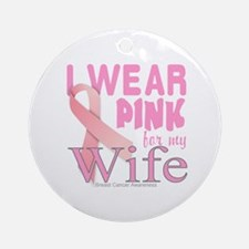 Breast Cancer Awareness for Wife Pi Round Ornament