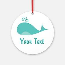 Personalizable Cute Whale Ornament (Round)