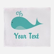 Personalizable Cute Whale Throw Blanket