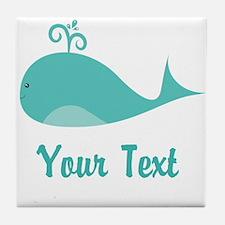 Personalizable Cute Whale Tile Coaster