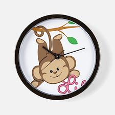 Lil Monkey Pink Girl Wall Clock
