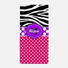 Pink Purple Zebra Personalized Beach Towel