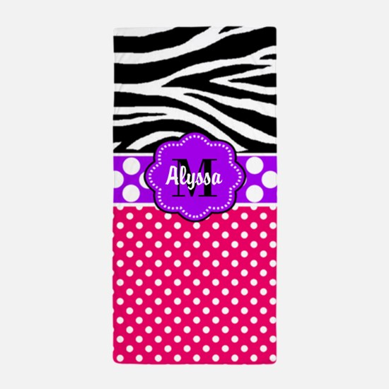 Pink Purple Zebra Personalized Beach Towel