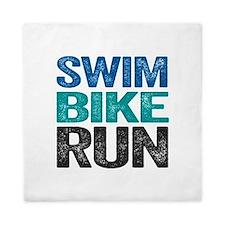 Triathlon. Swim. Bike. Run. Queen Duvet