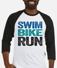 Triathlon. Swim. Bike. Run. Baseball Jersey