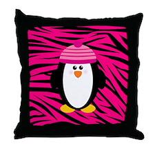 Pink Penguin on Zebra Stripes Throw Pillow