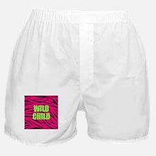 WILD CHILD Pink and Green Zebra Stripes Boxer Shor