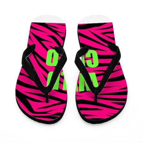 WILD CHILD Pink and Green Zebra Stripes Flip Flops