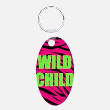 WILD CHILD Pink and Green Zebra Stripes Keychains