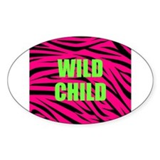 WILD CHILD Pink and Green Zebra Stripes Decal