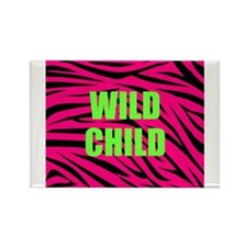 WILD CHILD Pink and Green Zebra Stripes Magnets