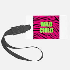 WILD CHILD Pink and Green Zebra Stripes Luggage Ta
