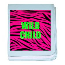 WILD CHILD Pink and Green Zebra Stripes baby blank