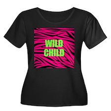 WILD CHILD Pink and Green Zebra Stripes Plus Size