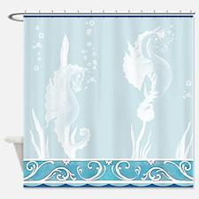 white Waterhorses Shower Curtain
