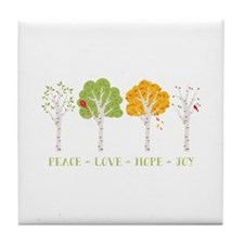 Peace-Love-Hope-Joy Tile Coaster