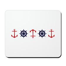 Sailing Border Anchors Ship Boat Wheels Mousepad