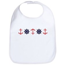 Sailing Border Anchors Ship Boat Wheels Bib