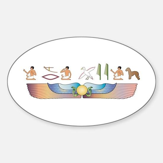 Bedlington Hieroglyphs Oval Decal