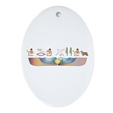 Collie Hieroglyphs Oval Ornament