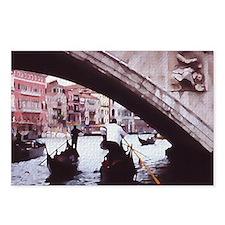 Venice gondolas under bri Postcards (Package of 8)