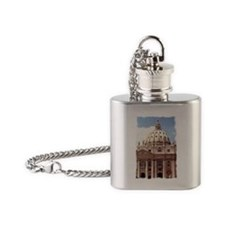 Rome  Vatican Watercolor Art Flask Necklace