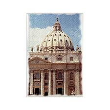 Rome  Vatican Watercolor Art Rectangle Magnet