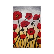 Red Poppies Rectangle Magnet