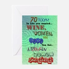 70th birthday, a funny wine women and song card Gr