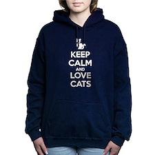 Keep Calm and Love Cats Women's Hooded Sweatshirt