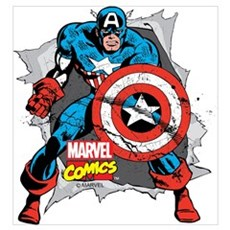 Captain America Ripped Wall Art Poster