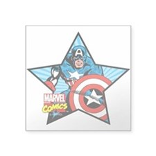 "Captain America Star Square Sticker 3"" x 3"""