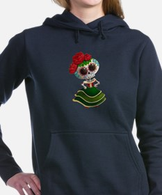 El Dia de Los Muertos Skeleton Girl Women's Hooded