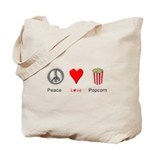 Peace Love Popcorn Tote Bag