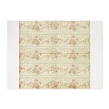 Vintage Antique Victorian Floral Rose Stripes 5'x7