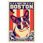 BOSTON Terrier USA Propaganda Large Poster