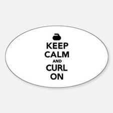 Keep calm and curl on Sticker (Oval)