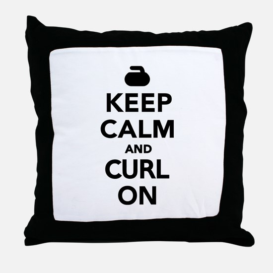 Keep calm and curl on Throw Pillow