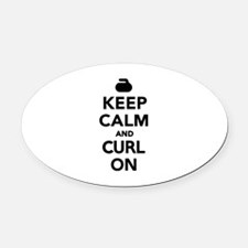 Keep calm and curl on Oval Car Magnet