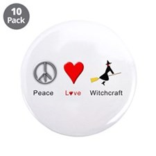 "Peace Love Witchcraft 3.5"" Button (10 pack)"