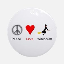 Peace Love Witchcraft Ornament (Round)
