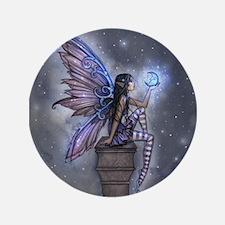 "Little Blue Moon Fairy Fantasy Art 3.5"" Button"