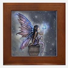 Little Blue Moon Fairy Fantasy Art Framed Tile