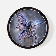 Little Blue Moon Fairy Fantasy Art Wall Clock