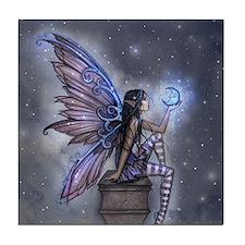 Little Blue Moon Fairy Fantasy Art Tile Coaster
