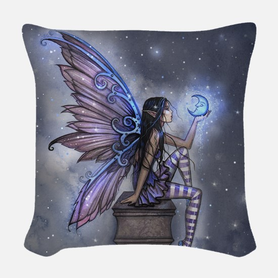 Little Blue Moon Fairy Fantasy Art Woven Throw Pil