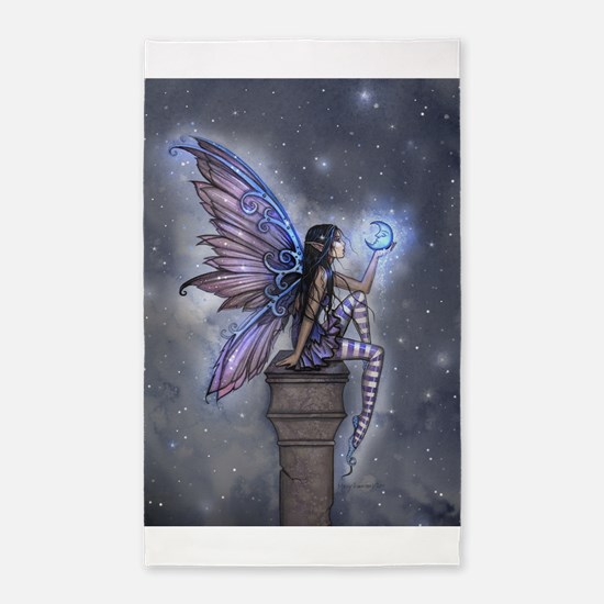 Little Blue Moon Fairy Fantasy Art 3'x5' Area Rug
