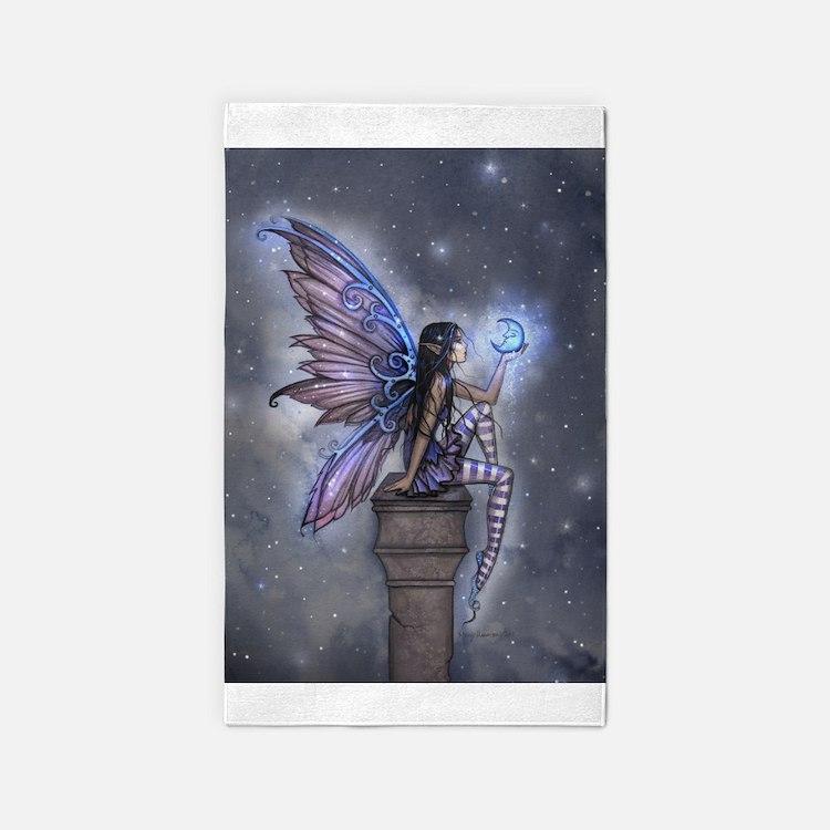 Little Blue Moon Fairy Fantasy Art 3'x5' Area Rug